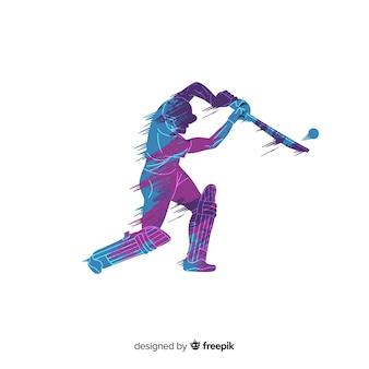 Schlagmann, der kricket in der blauen und purpurroten aquarellart spielt
