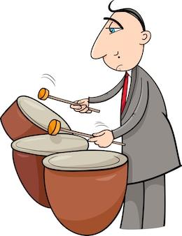 Schlagzeugermusiker-karikaturillustration