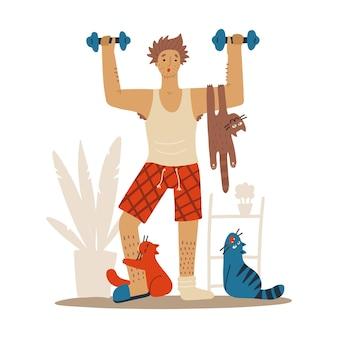 Schlampiger mann mit katzen beim training zu hause katzen stören den sport humorvolle fitness-motivation...