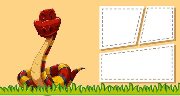 Schlange auf notizvorlage