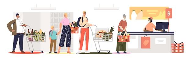 Schlange im supermarkt an der theke. leute im lebensmitteleinzelhandel warten, um an der kasse für das essen zu bezahlen