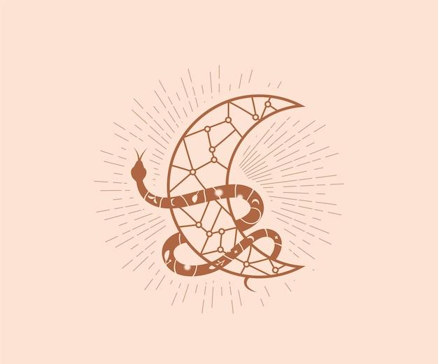 Schlange umhüllt dekorativen mond-okkultismus magisches logo mit femininen linienkunst-mondschlangen-designelementen