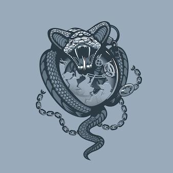 Schlange wickelte und zertrümmerte die uhr und die kette.