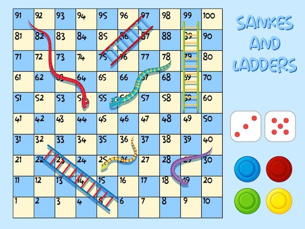 Schlangen und ladder spielvorlage