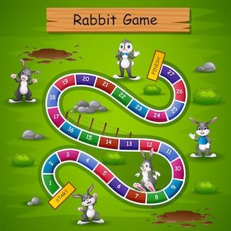 Schlangen und leitern spiel kaninchen thema