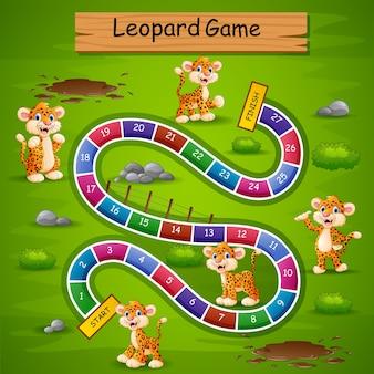 Schlangen und leitern spiel leopard thema