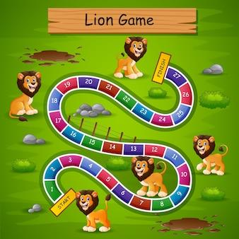 Schlangen und leitern spiel löwen thema