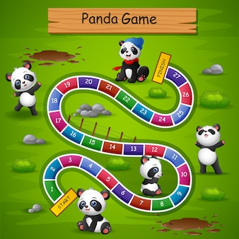 Schlangen und leitern spiel panda thema