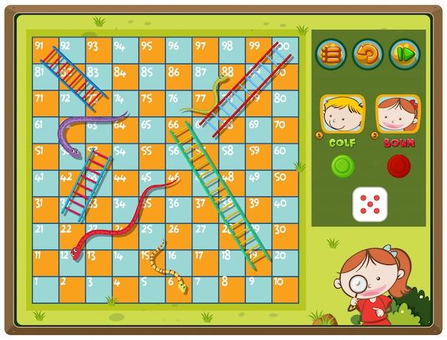 Schlangen- und leiterspiel mit jungen und mädchen