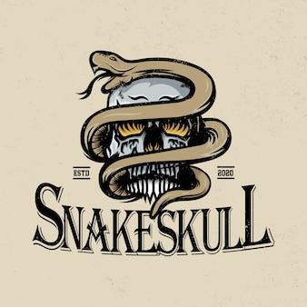 Schlangen- und schädelillustration