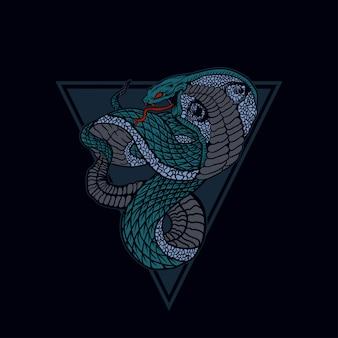 Schlangenillustration, königskobra.