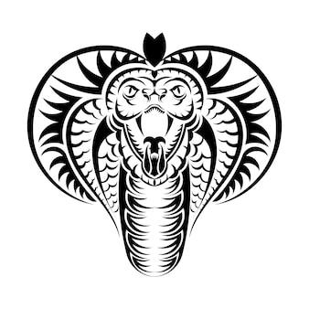 Schlangenkobra gesicht symbol schwarz abbildung. das emblem mit königskobra für ein sportteam. druckdesign für t-shirt.