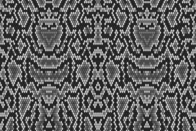 Schlangenpythonhautstruktur. nahtloses muster schwarz auf weißem hintergrund. grau