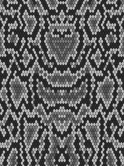 Schlangenpythonhautstruktur. nahtloses muster schwarz auf weißem hintergrund.