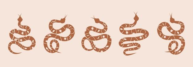 Schlangensatz mystischer magischer objekte mondaugenkonstellationen sonne und sterne spirituelles okkultismus-logo