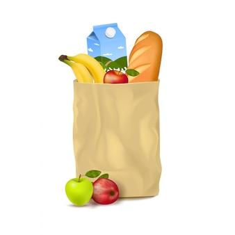 Schlanke papiertüte mit supermarktprodukten