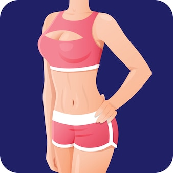 Schlanke sportliche frau, fitness-mädchen in rosa sportbekleidung, shorts-symbol für mobile apps, schlanker körper, vektorillustration