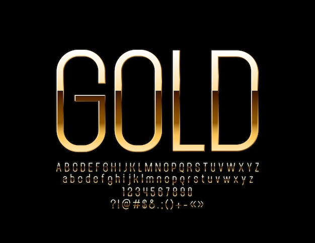 Schlankes goldenes alphabet. elegante glänzende schrift. schicke buchstaben, zahlen und symbole.