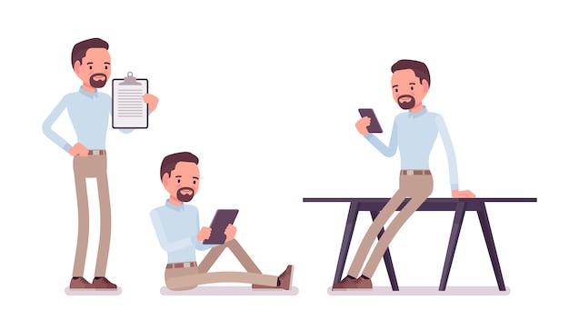 Schlauer mann mittleren alters in geknöpftem hemd und dünner chinohose aus kamel, der mit geräten arbeitet. business stilvolle workwear trend und office city mode. stil cartoon illustration