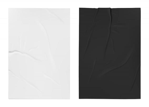 Schlecht geklebtes weißes und schwarzes papier. schlecht nasses klebepapier.