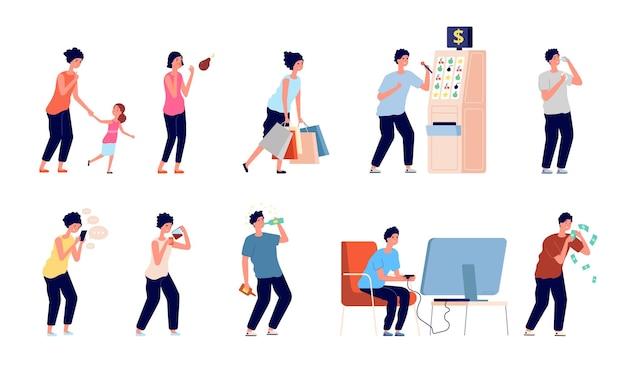 Schlechte angewohnheiten. digitale sucht, menschen, die zu viel essen, shopaholismus und drogen. ungesunde person, alkoholtoxische missbrauchsvektorillustration. sucht tabakrauchen, süchtige ungesunde ernährung und glücksspiel