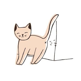Schlechte katze, die auf die wand lokalisiert auf weißem hintergrund uriniert. ungezogenes kätzchen, das zu hause urinspuren hinterlässt. problem des ungehorsams von haustieren oder haustieren. handgezeichnete vektor-illustration im doodle-stil.