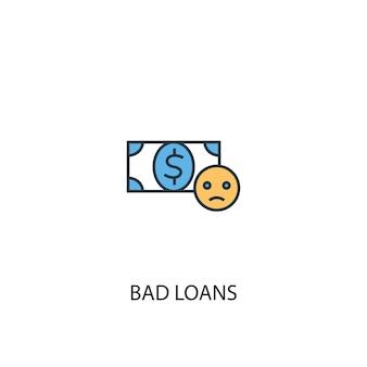 Schlechte kredite konzept 2 farbige liniensymbol. einfache gelbe und blaue elementillustration. konzeptentwurf für uneinbringliche kredite