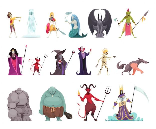 Schlechte märchencharaktere stellten mit dem lustigen bunten bösen hexenstiefmutterköniginvampirsstein-manndrachen ein