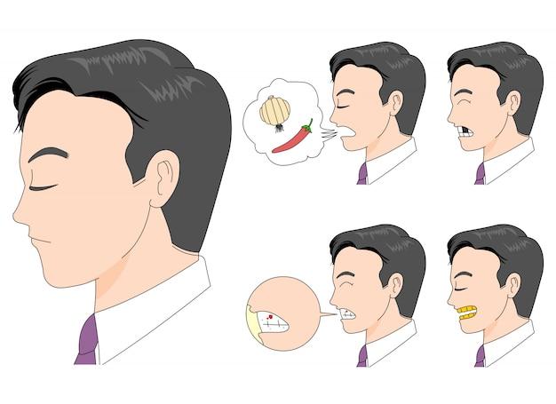 Schlechte mundpflege illustration der seitenansicht des männlichen angestellten