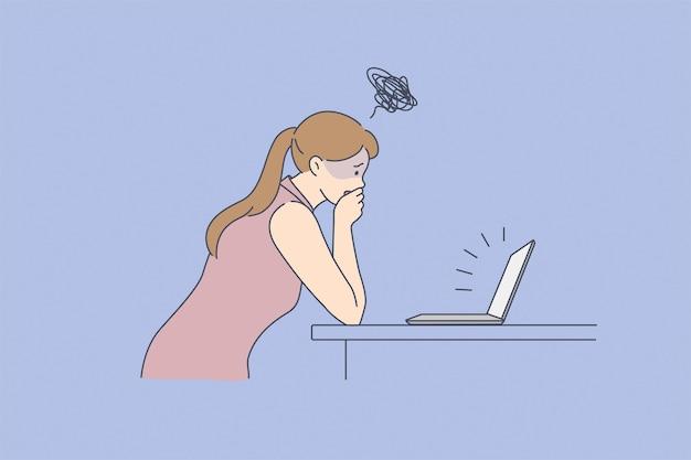 Schlechte nachrichten online aus dem internet-konzept. junge gestresste frau, die auf dem laptop-bildschirm steht und die lippe mit der hand bedeckt, die sich schockiert über schlechte nachrichtenvektorillustration fühlt