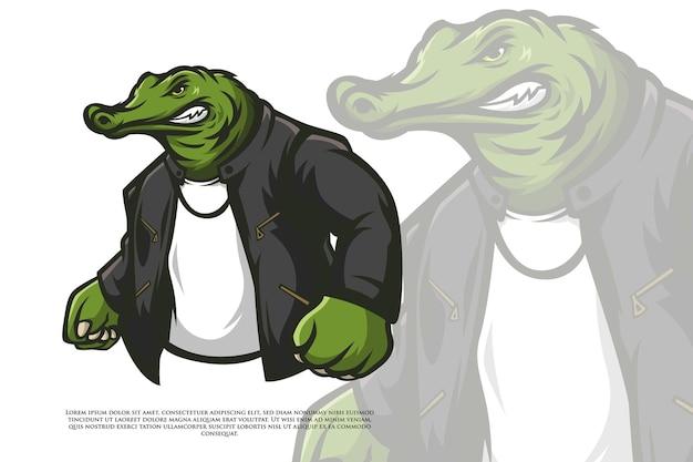 Schlechter alligator mit lederjacke