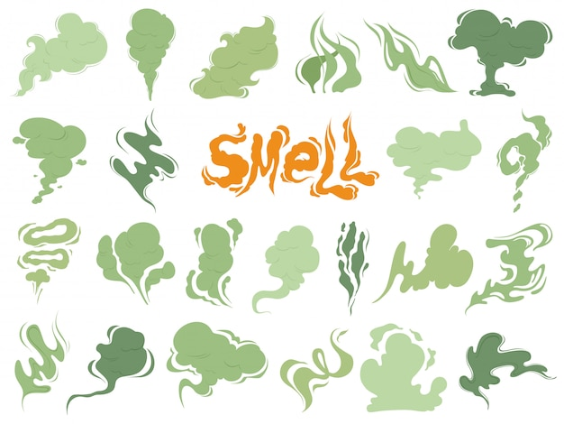 Schlechter geruch, dampfrauchwolken von zigaretten oder abgelaufenes altes lebensmittel, das karikaturikonen kocht