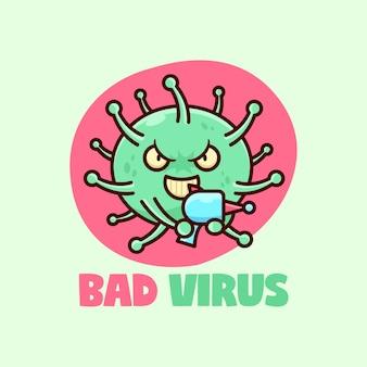 Schlechter grüner virus bringt ein lasergewehr und lächelt