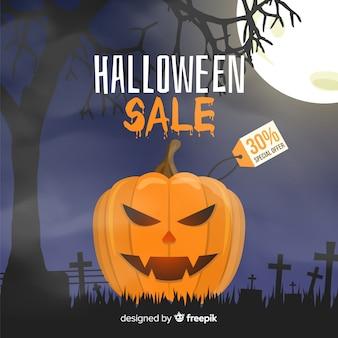 Schlechter kürbis-halloween-verkauf auf flachem design