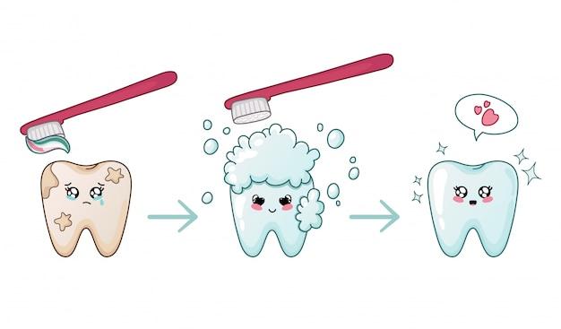 Schlechter zahn, der sauberen kawaii zahn mit der spracheblasen-zahnreinigung glänzt
