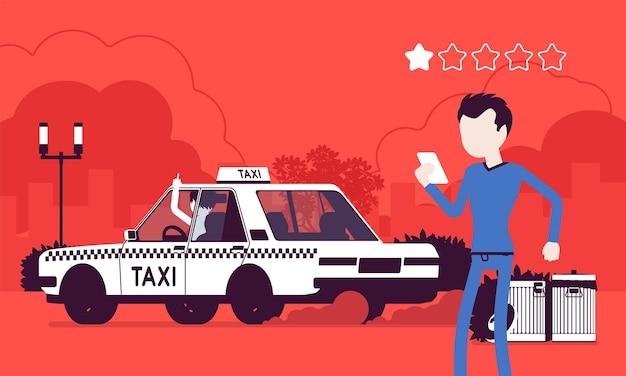 Schlechtes auto und unhöflicher fahrer im taxibewertungs-app-system. rangliste der wütenden männlichen passagiere nach smartphone-anwendung, servicequalität, route, preis, sicherheitsleistung. vektorillustration, gesichtslose charaktere