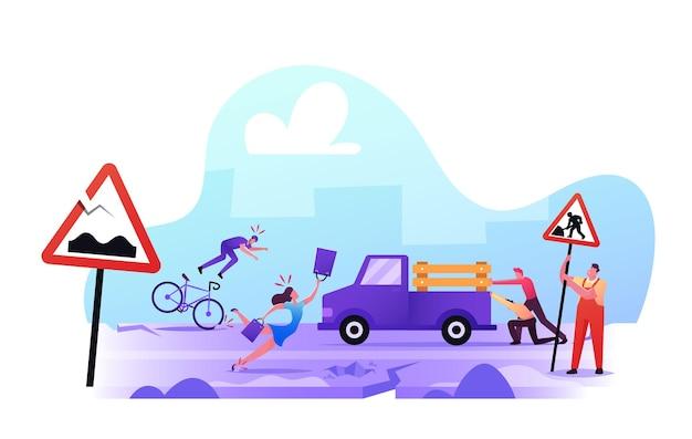 Schlechtes straßenkonzept. stadtbewohner geraten auf der broken highway in schwierigkeiten. frau stolpert auf asphalt, mann fällt vom fahrrad herunter, männliche charaktere drücken steckengebliebenes auto. cartoon-menschen-vektor-illustration
