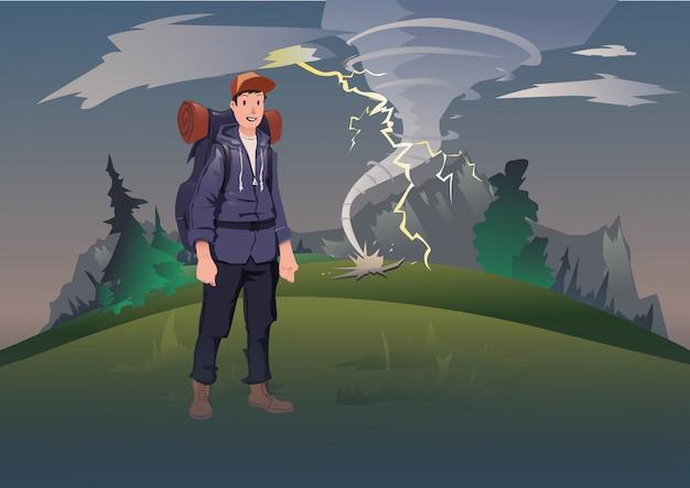 Schlechtes wetter in den bergen. mann mit rucksack auf dem hintergrund der berglandschaft mit tornado und blitz. bergtourismus, wandern, aktive erholung im freien. illustration.