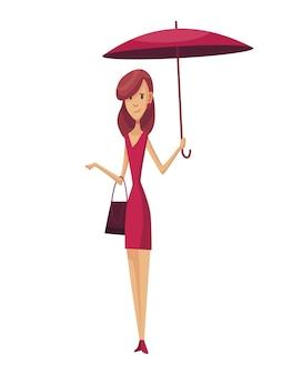 Schlechtes windiges regnerisches wetter lustige karikaturmenschenikone. frau mit regenschirm, der unter regen steht. charakter mit regenschirm.