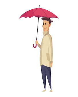 Schlechtes windiges regnerisches wetter lustige karikaturmenschenikone.