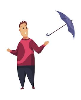 Schlechtes windiges regnerisches wetter lustige karikaturmenschenikone