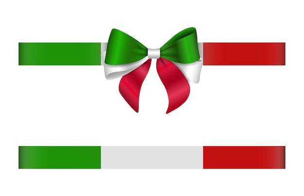 Schleife und band mit italienischen flaggenfarben. italienischer bogen und band