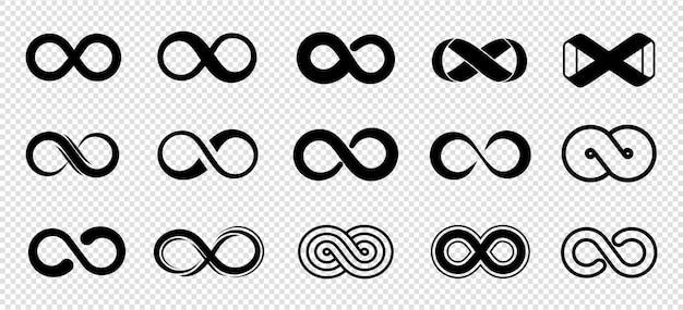 Schleifensymbole. unendlichkeitssymbole eingestellt. schwarze mobius-schleifensammlung. kurve endlos, unendlich und ewig, unbegrenzte zukünftige symbolillustration