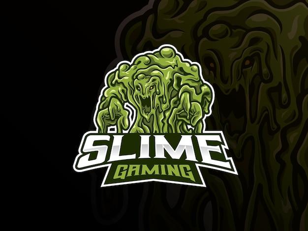 Schleim monster maskottchen esport logo. gruseliges monsterschleim-maskottchen-logo. grünes schleimmonstermaskottchen für das esportteam.
