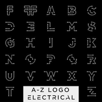Schließen sie an oder elektrisches az das lokalisierte ikonenelement
