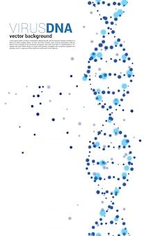 Schließen sie das partikelvirus um den hintergrund der dna-struktur. konzept für erbkrankheiten und krankheiten.