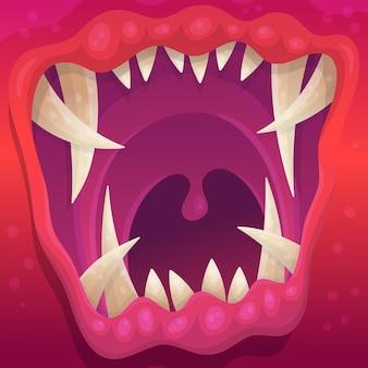 Schließen sie herauf bild des bunten monstermunds mit krummen scharfen zähnen, karikatur flache vektorillustration