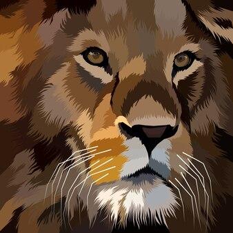 Schließen sie oben löwe pop-art-porträtdekoration