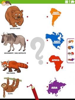 Schließen sie sich dem lernspiel für kinder auf tieren und kontinenten an