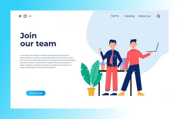 Schließen sie sich dem team-landingpage-design mit flacher illustration an